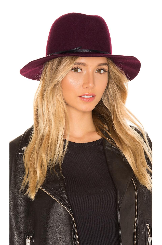 Hat Attack Bella Felt Hat in Burgundy & Black & Silver Bars