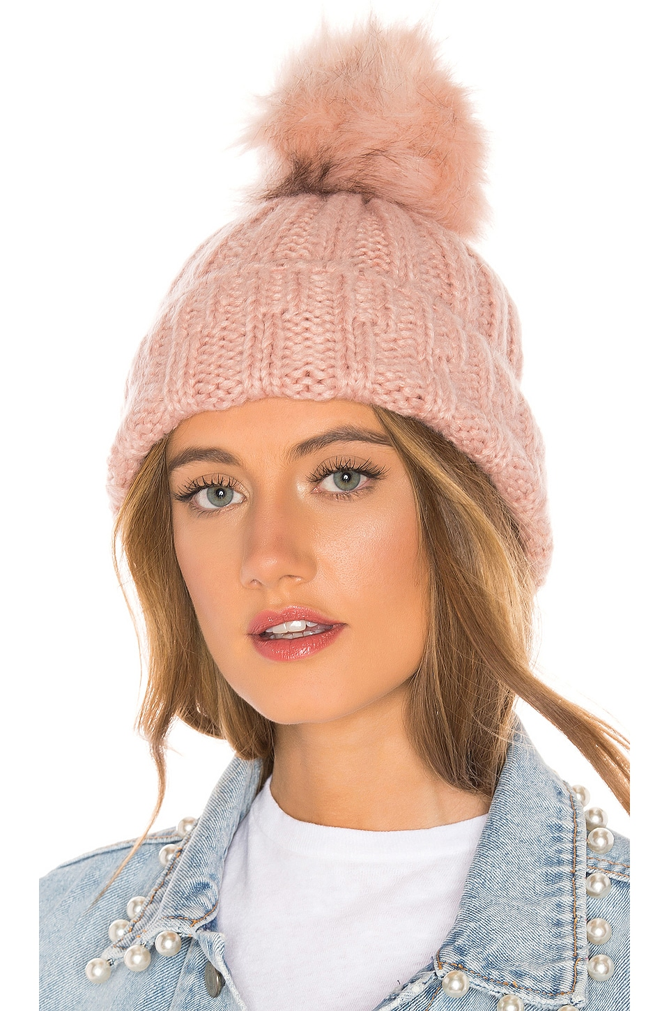 Hat Attack Slouchy Rib Beanie in Rose & Blush