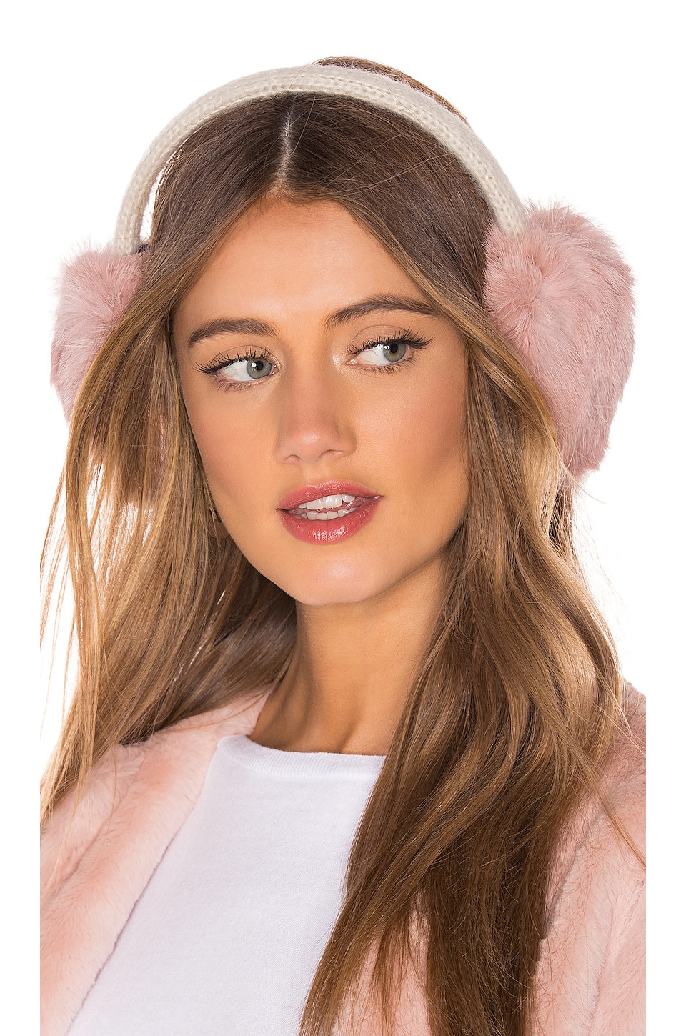Hat Attack Knit Rabbit Earmuffs in Ivory & Rose
