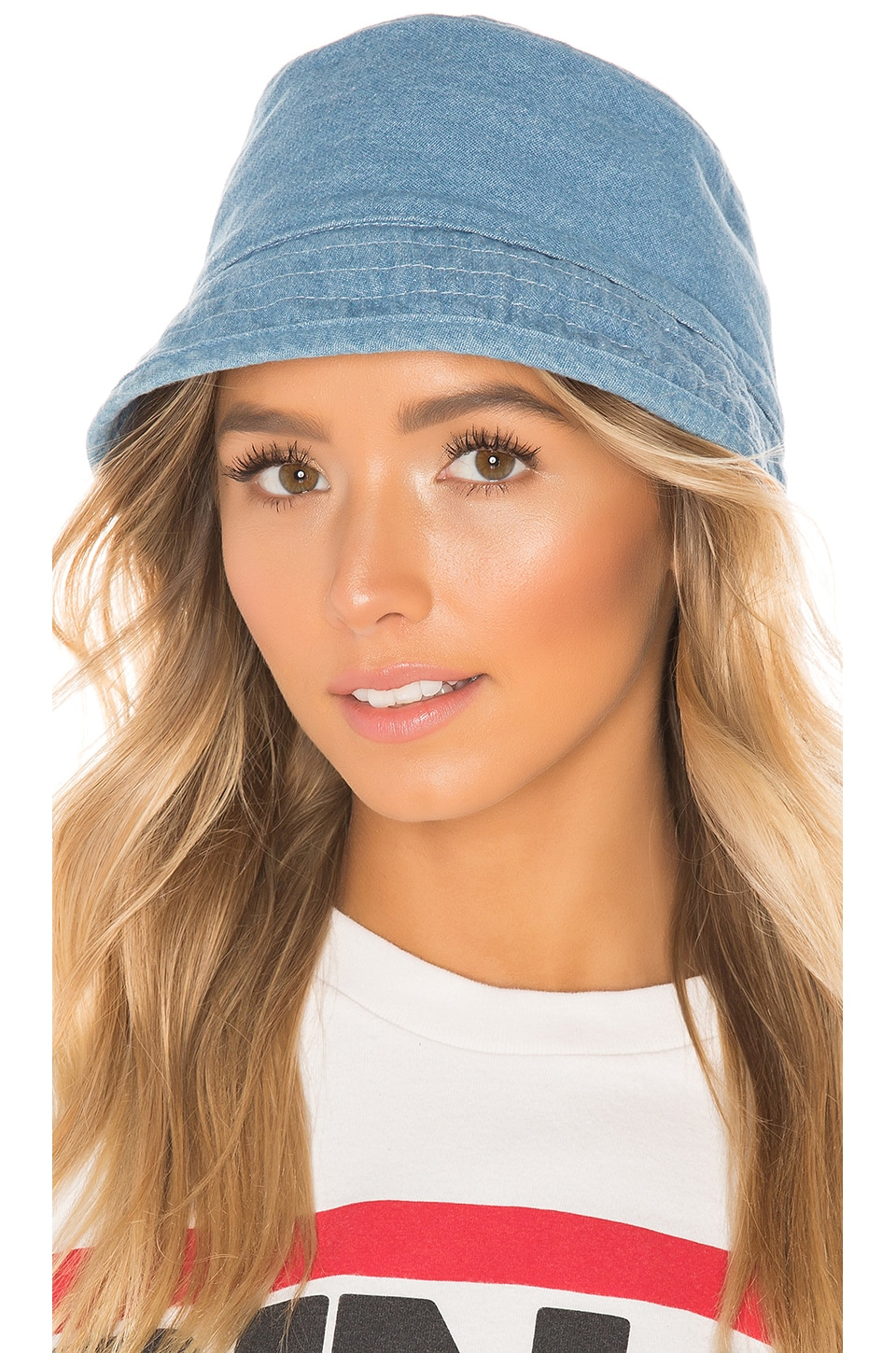 Hat Attack Washed Cotton Bucket Hat in Light Denim