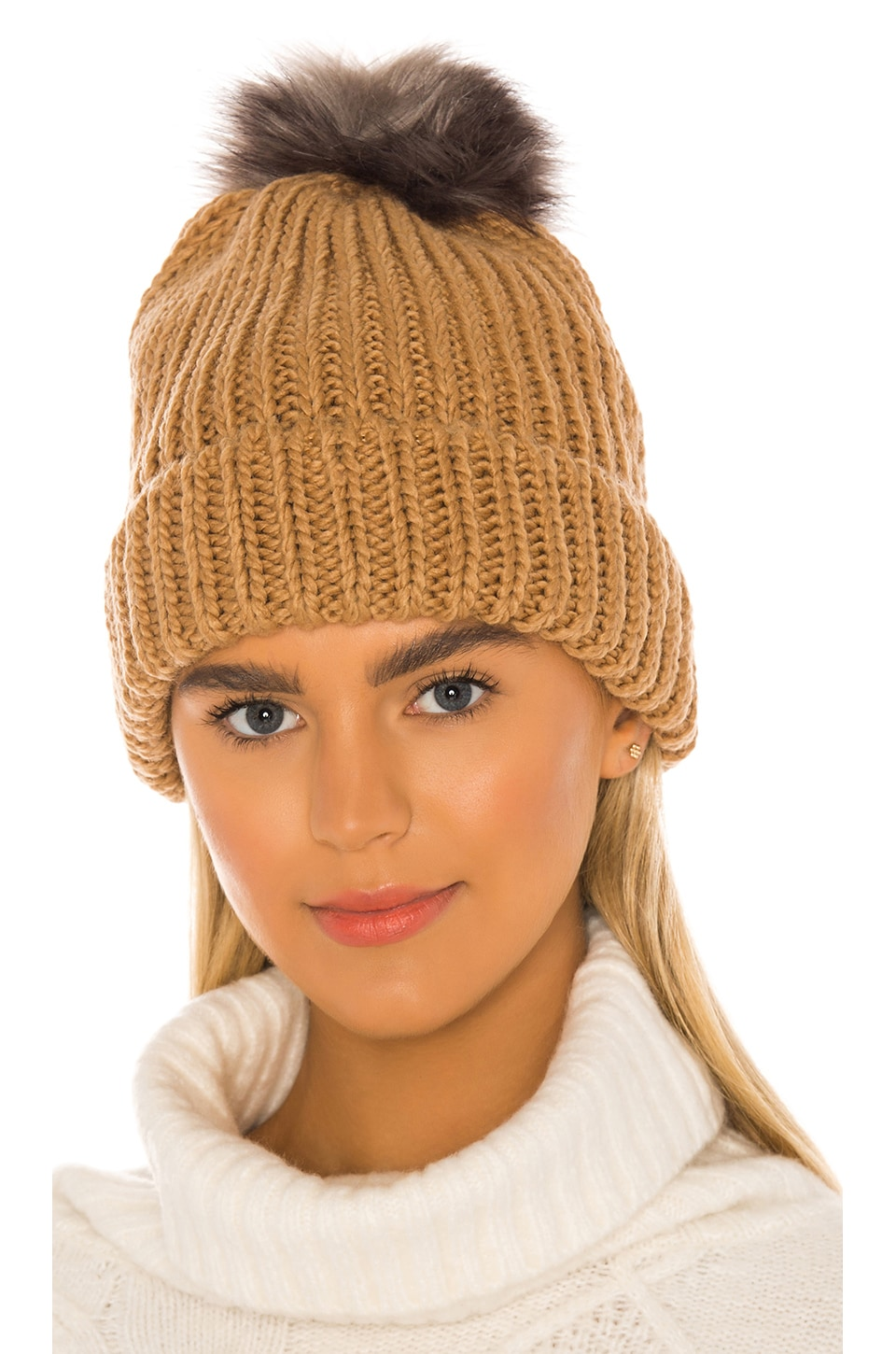 Hat Attack Tahoe Faux Fur Pom Beanie in Tobacco