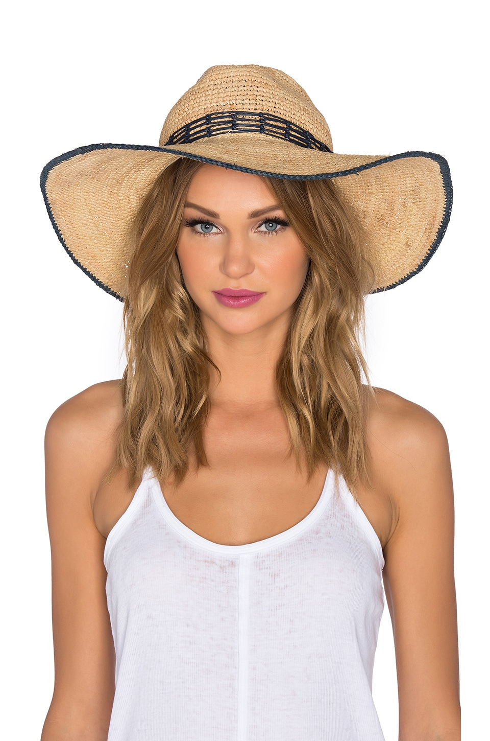 Hat Attack Tipped Edge Raffia Sunhat in Natural & Navy Fishnet Trim