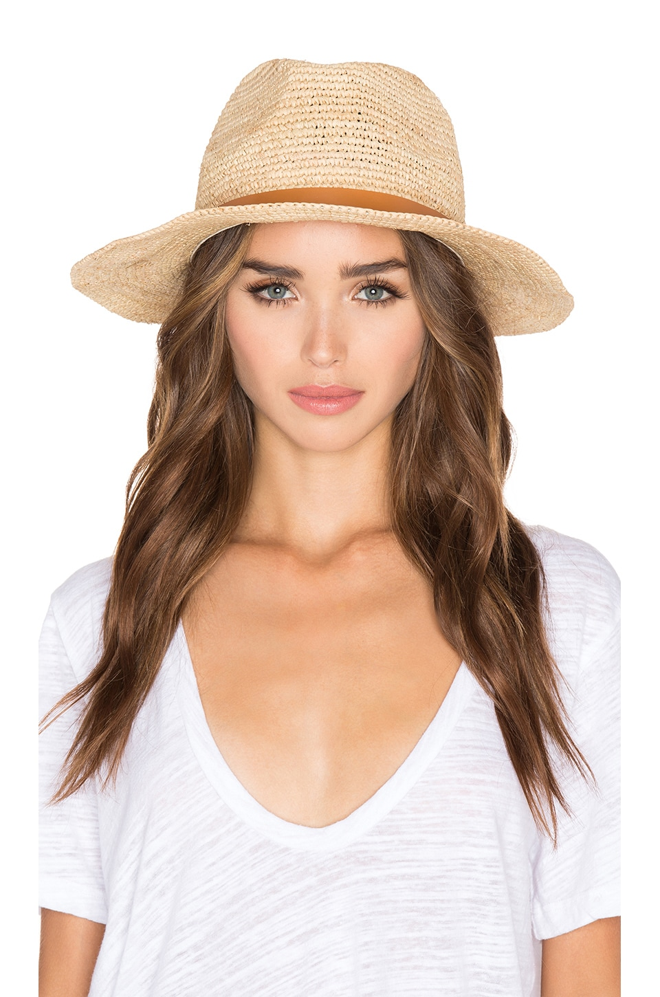 Hat Attack Raffia Crochet Medium Brim Hat in Natural & Tan Narrow Leather Band