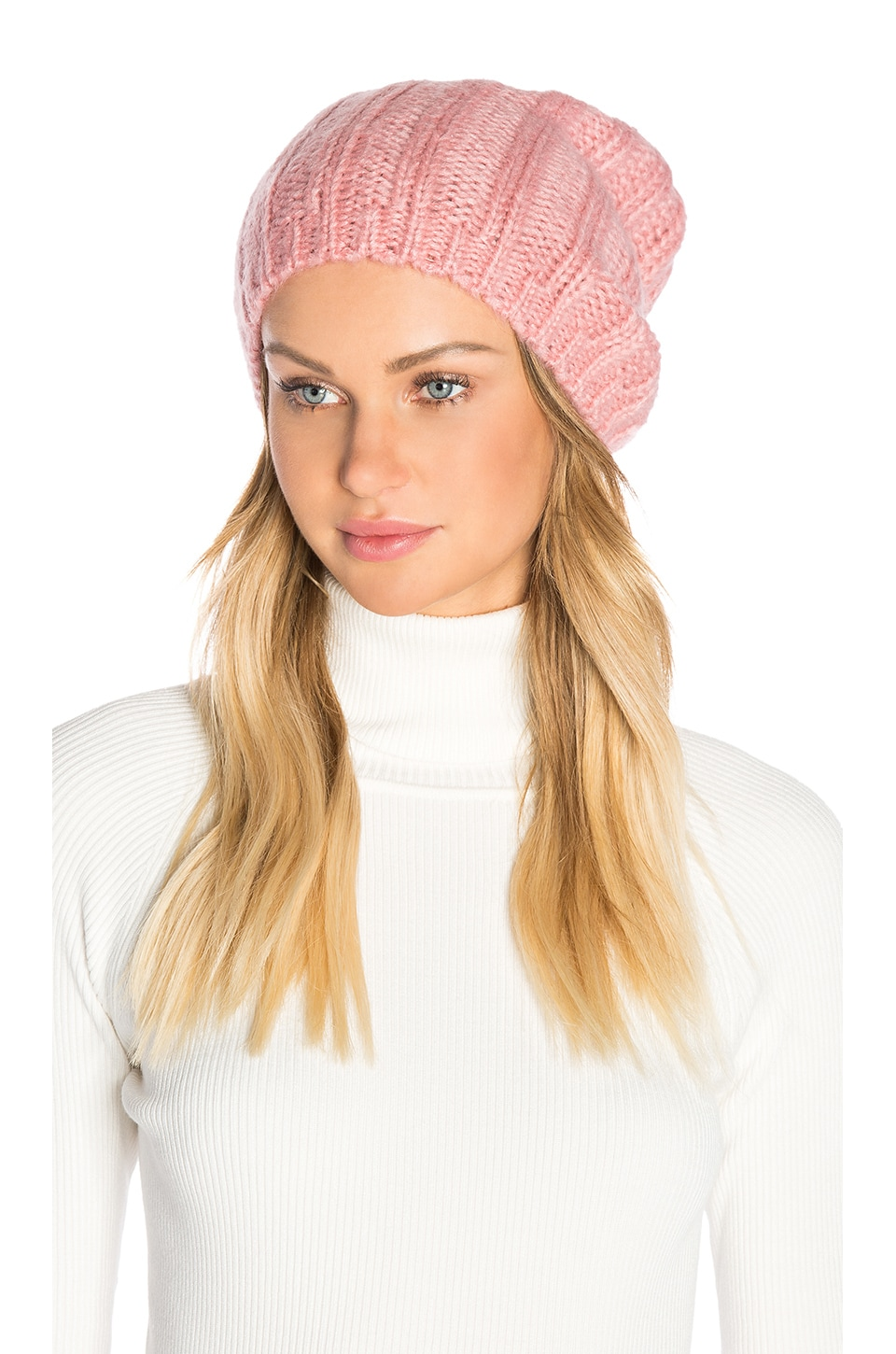 Hat Attack Rib Slouchy Beret in Rose