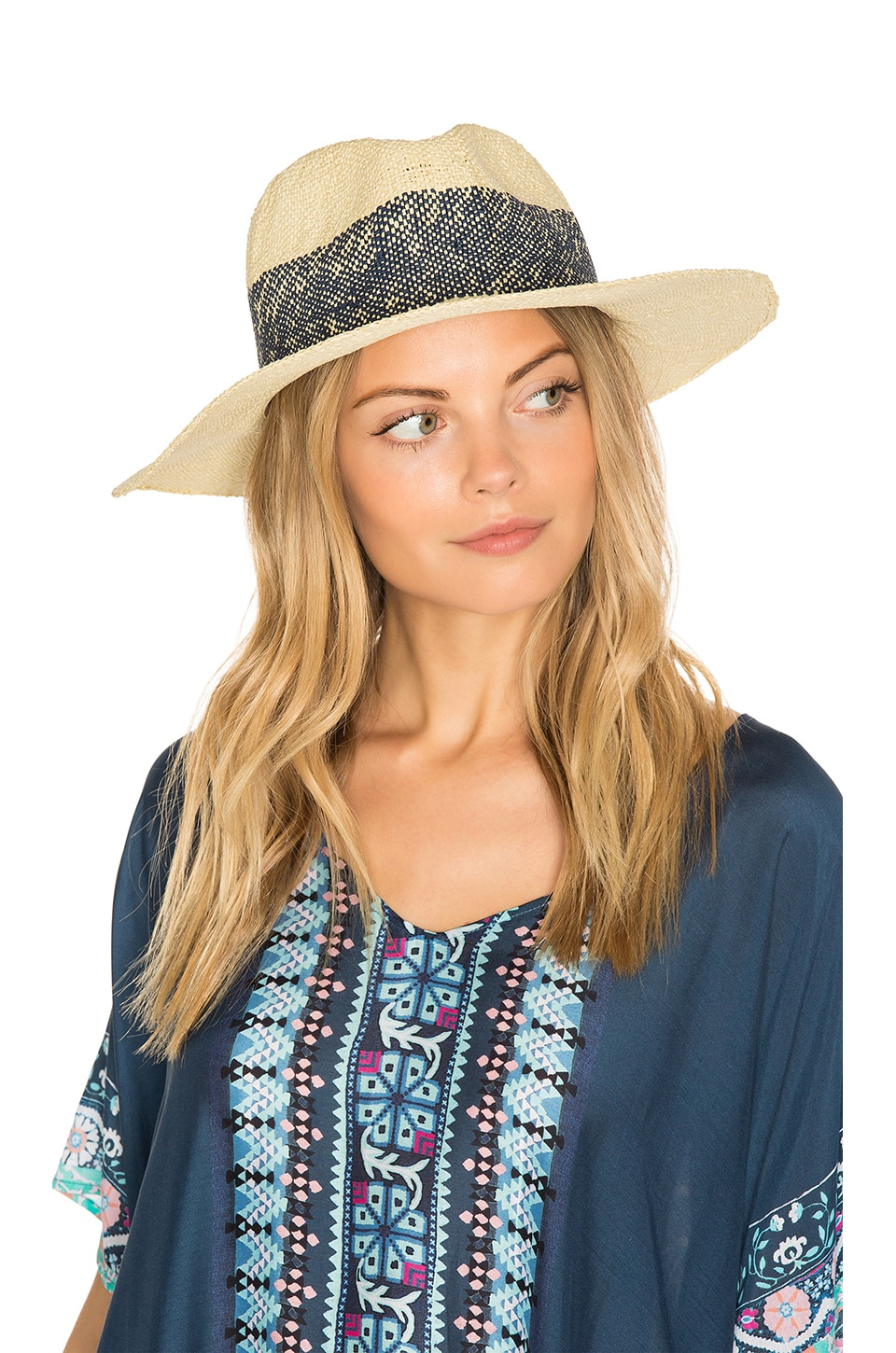 Hat Attack Wide Stripe Fedora in Natural & Navy