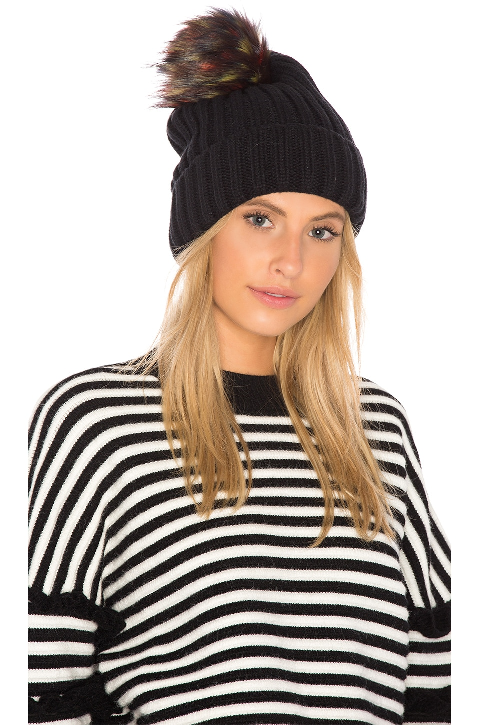 6f7e81ffafb Hat Attack Chunky Rib Beanie with Snap Off Faux Fur Pom in Black ...