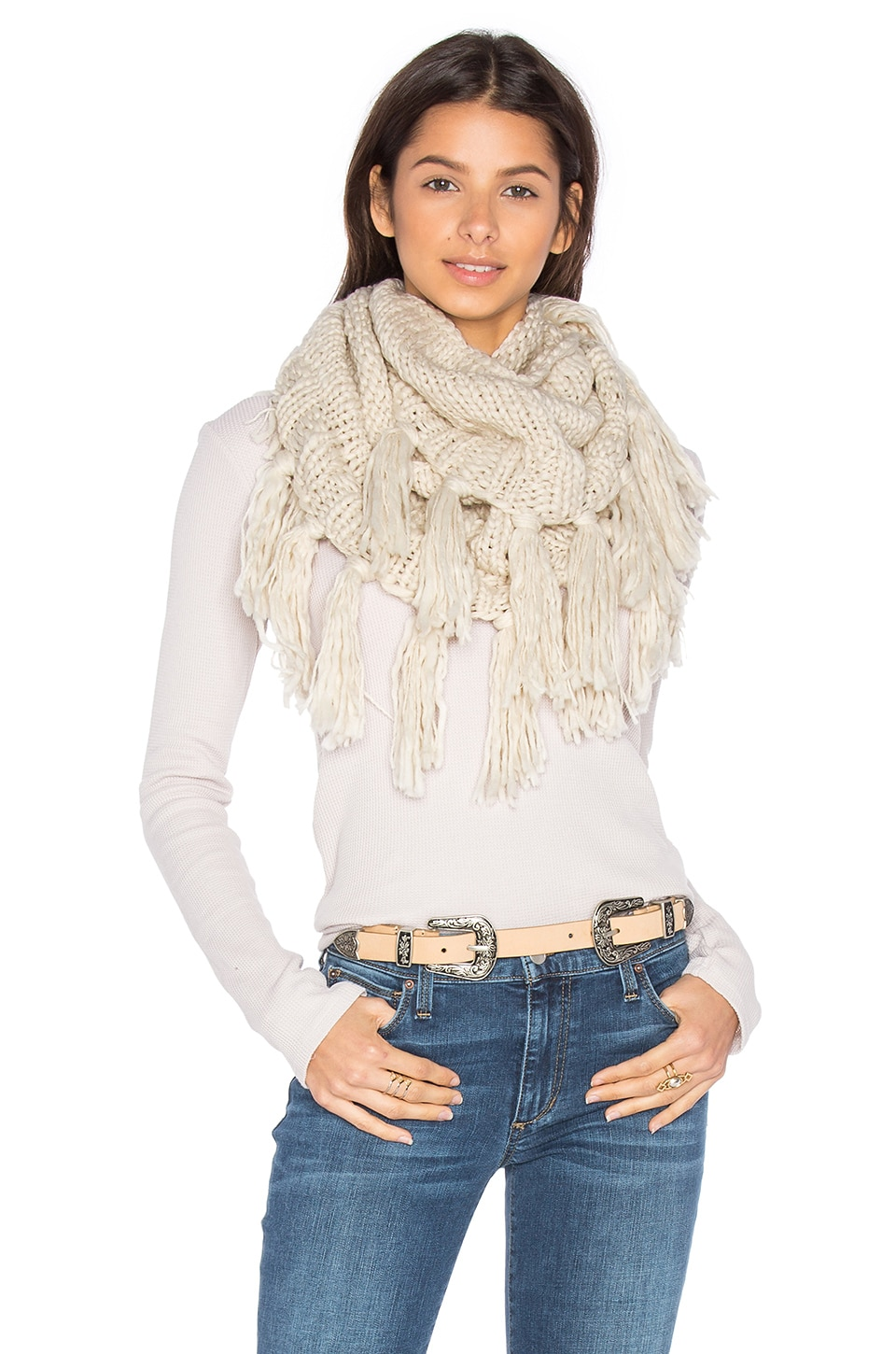 Hat Attack Fringe Double Loop Scarf in Oat