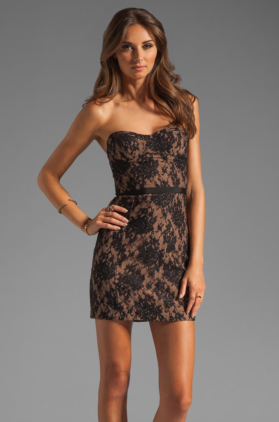 Haute Hippie Lace Corset Dress in Black