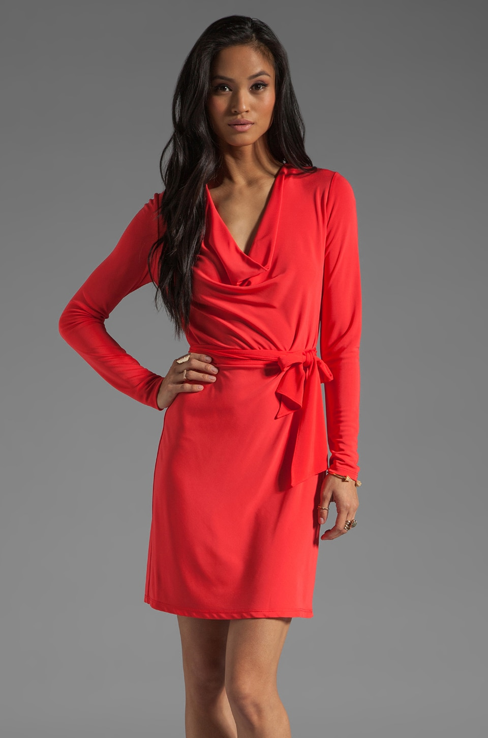 Haute Hippie Long Sleeve Cowl Dress with Self Belt in Paprika