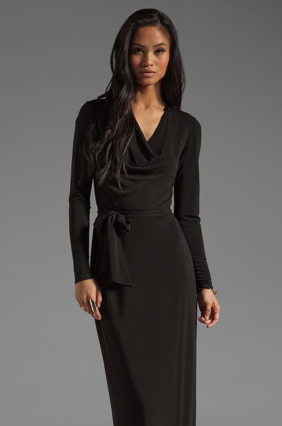 Haute Hippie Long Sleeve Cowl Gown with Self Belt in Black