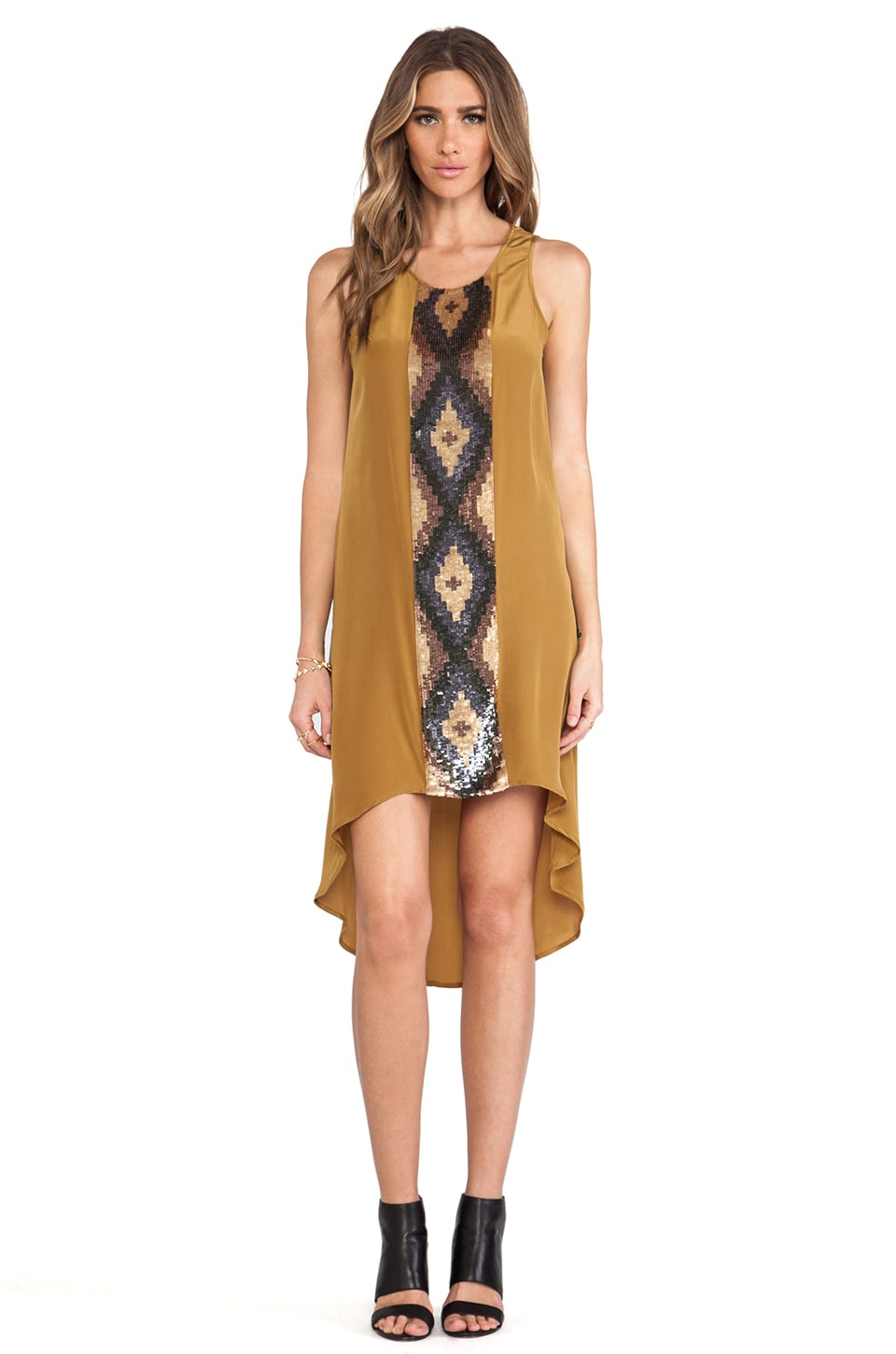 Haute Hippie High Embellished Panel Tank Dress in Moss