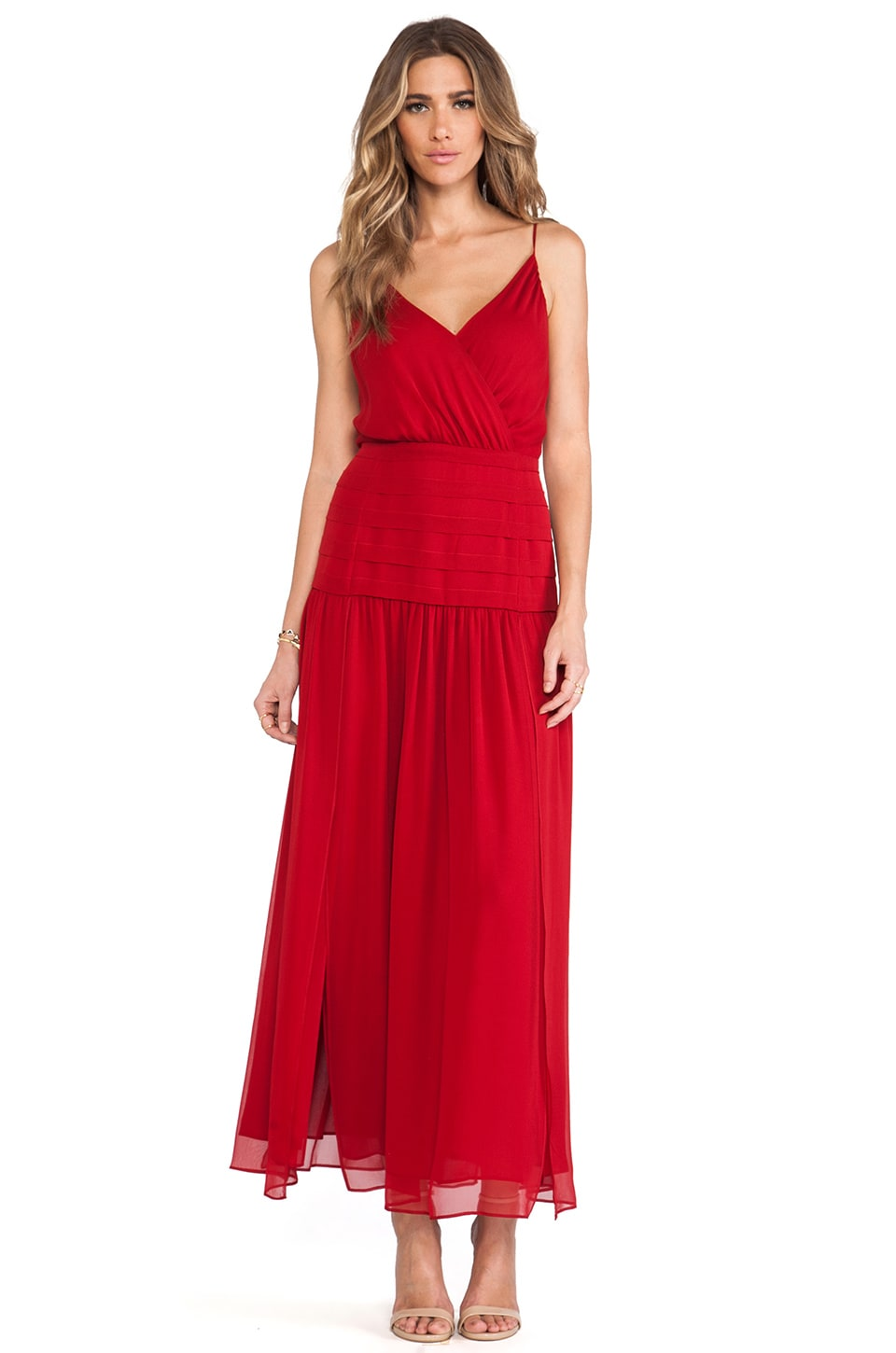 Haute Hippie Sexy Rachel Dress with Belt in Scarlet