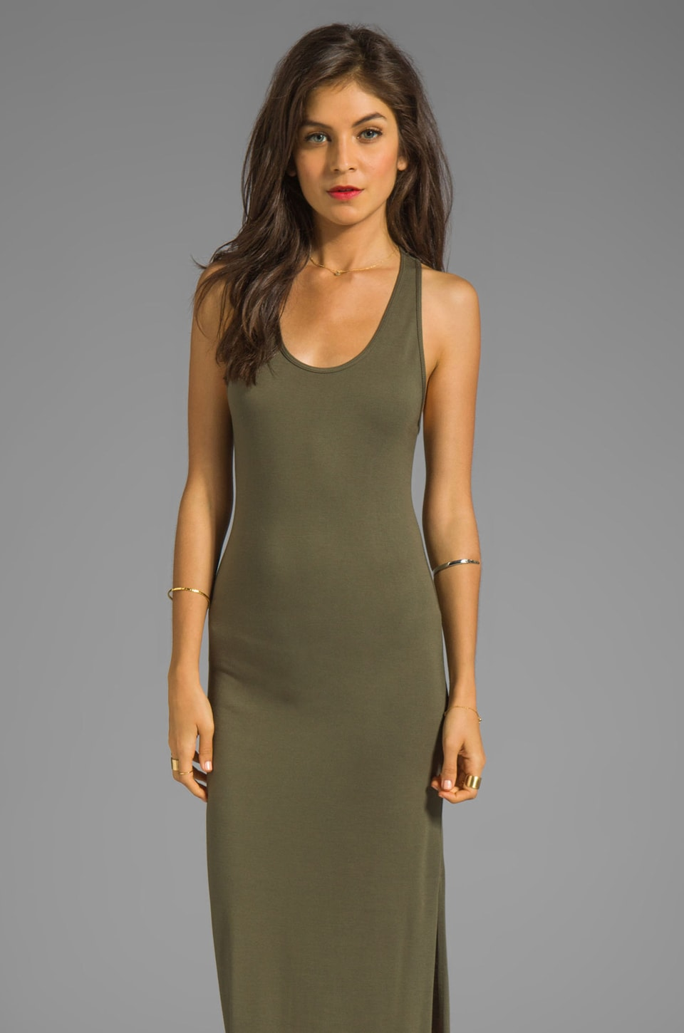 Haute Hippie Scoop Neck Tank Dress in Military