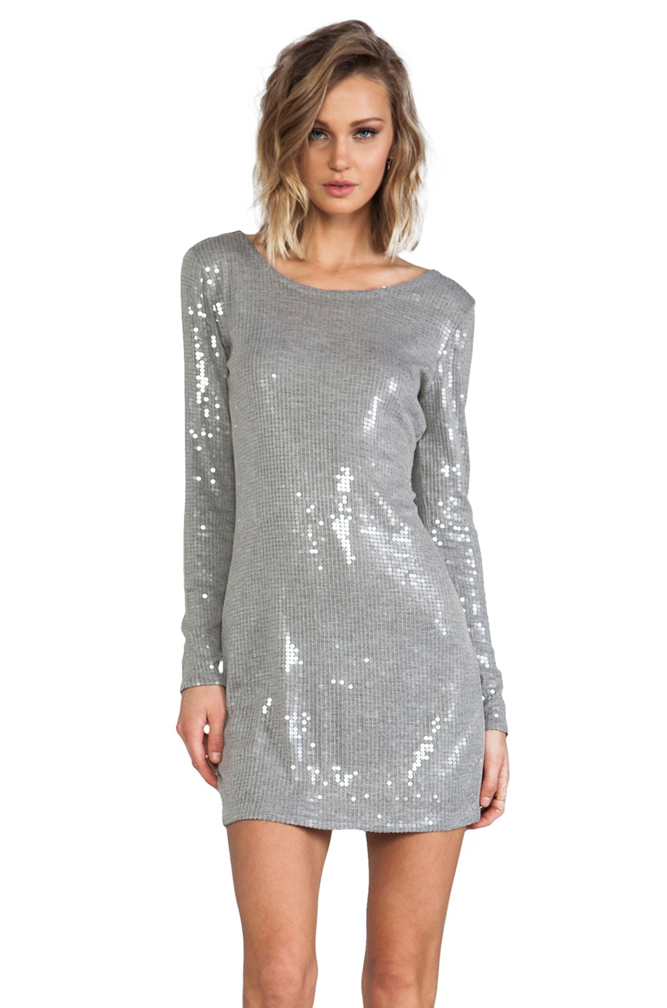 Haute Hippie All Over Clear Sequins Long Sleeve Mini Dress in Light Heather Grey