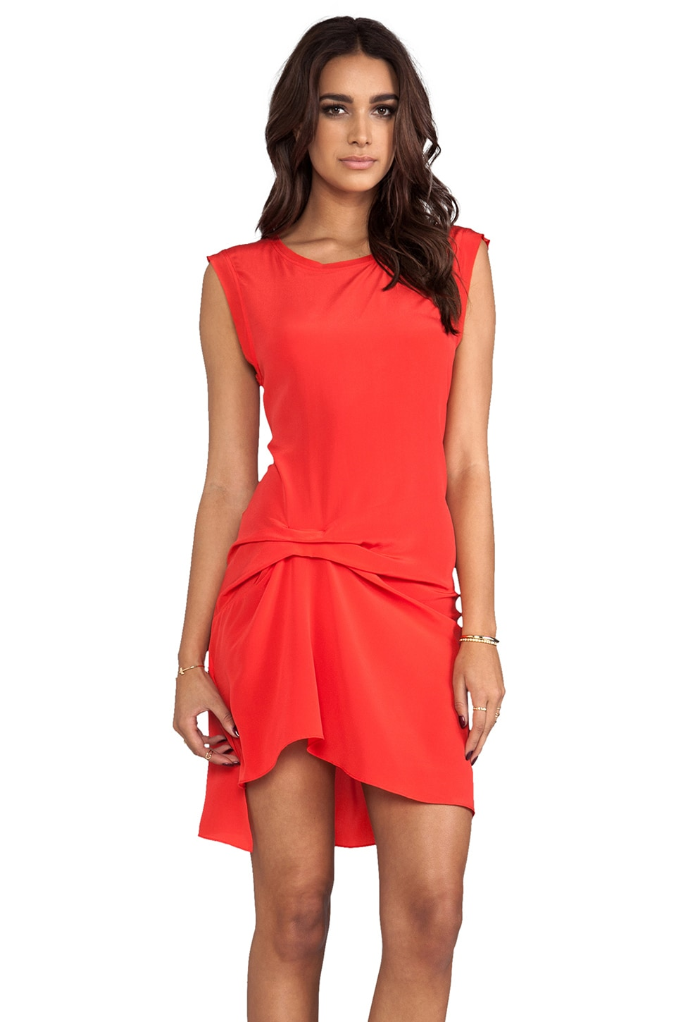 Haute Hippie Gathered Silk Muscle Dress in Paprika