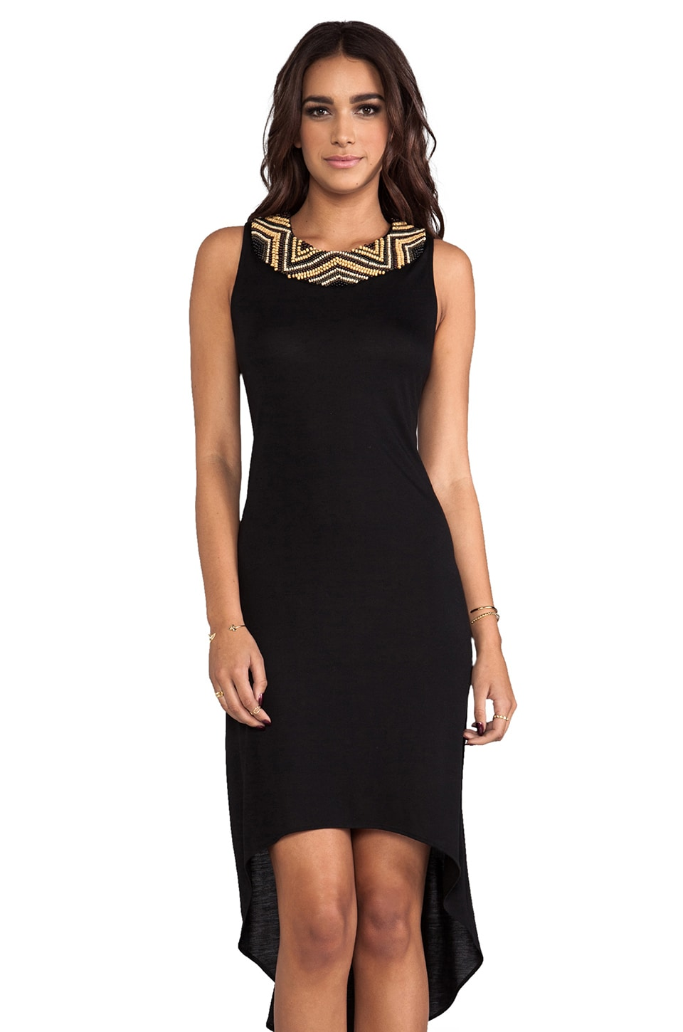 Haute Hippie High Low Embellished Dress in Black