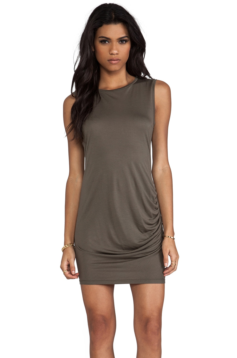Haute Hippie Side Gathered Dress in Military