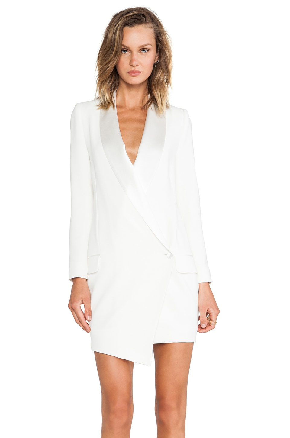 Haute Hippie Oversized Asymmetrical Blazer Dress in Antique Ivory