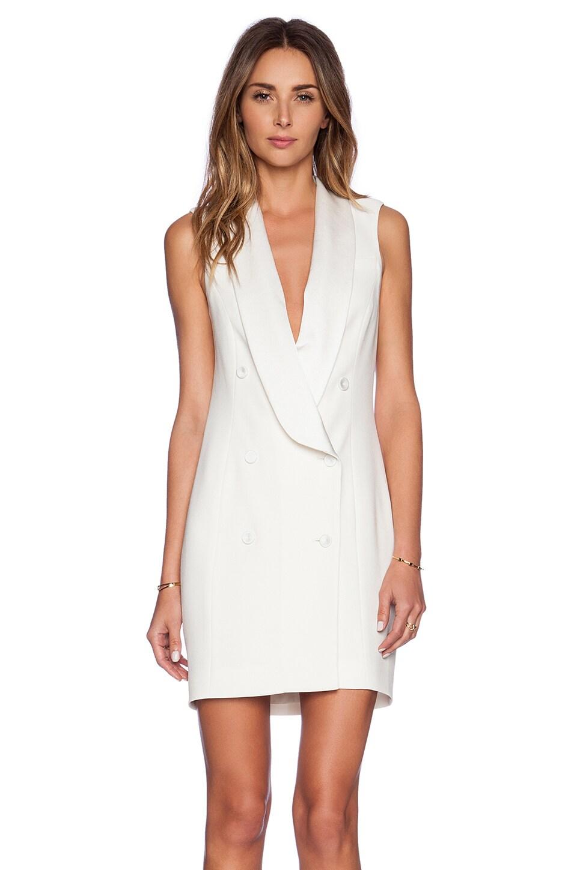 Haute Hippie Short Sleeve Tux Dress in Swan