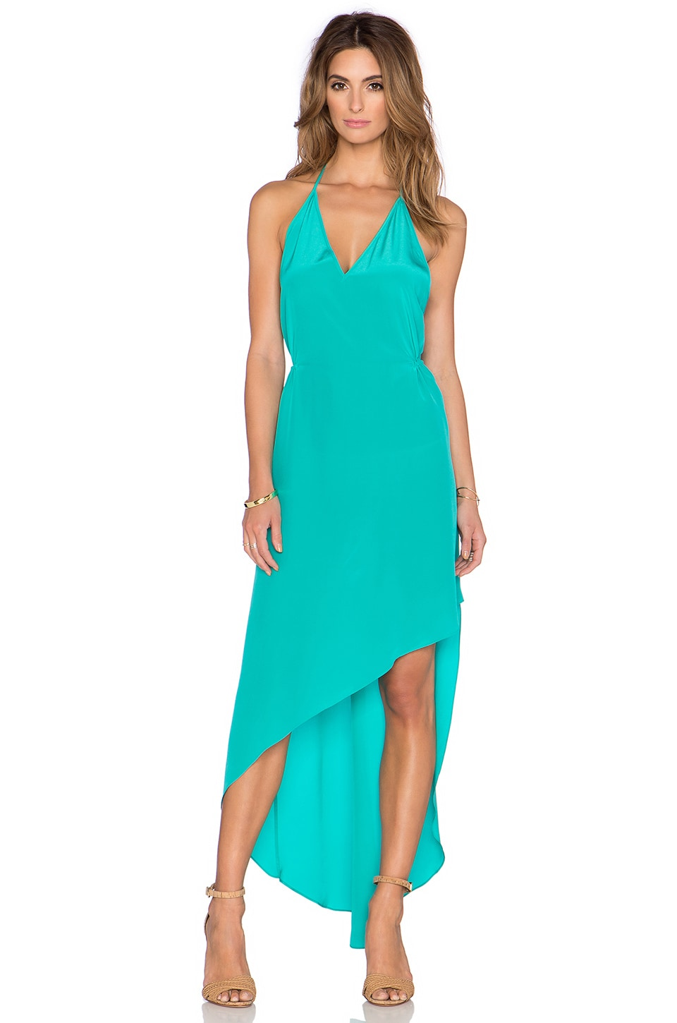 Deep v halter maxi dress