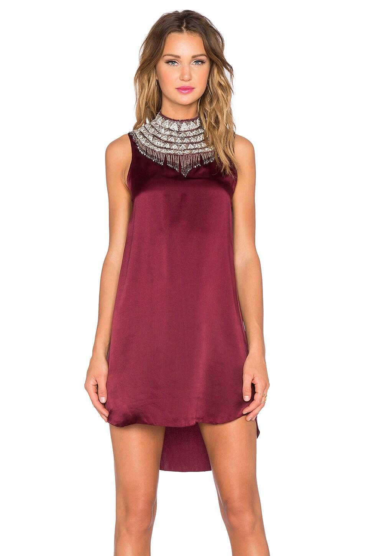 Haute Hippie Hi Low Embellished Neck Dress in Fig  REVOLVE