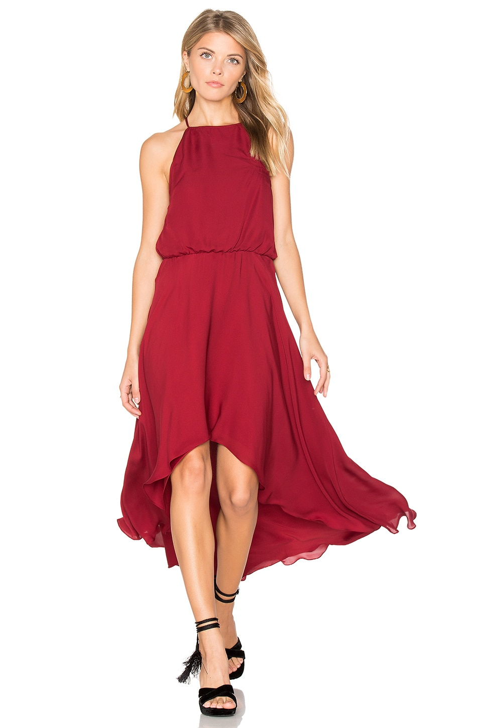 Haute Hippie High Neck Dress in Crimson