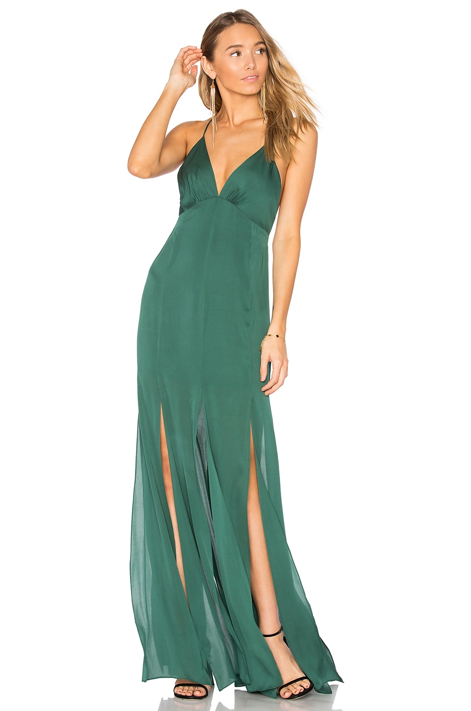 Haute Hippie Low Back Fitted Cami Gown in Craig Green