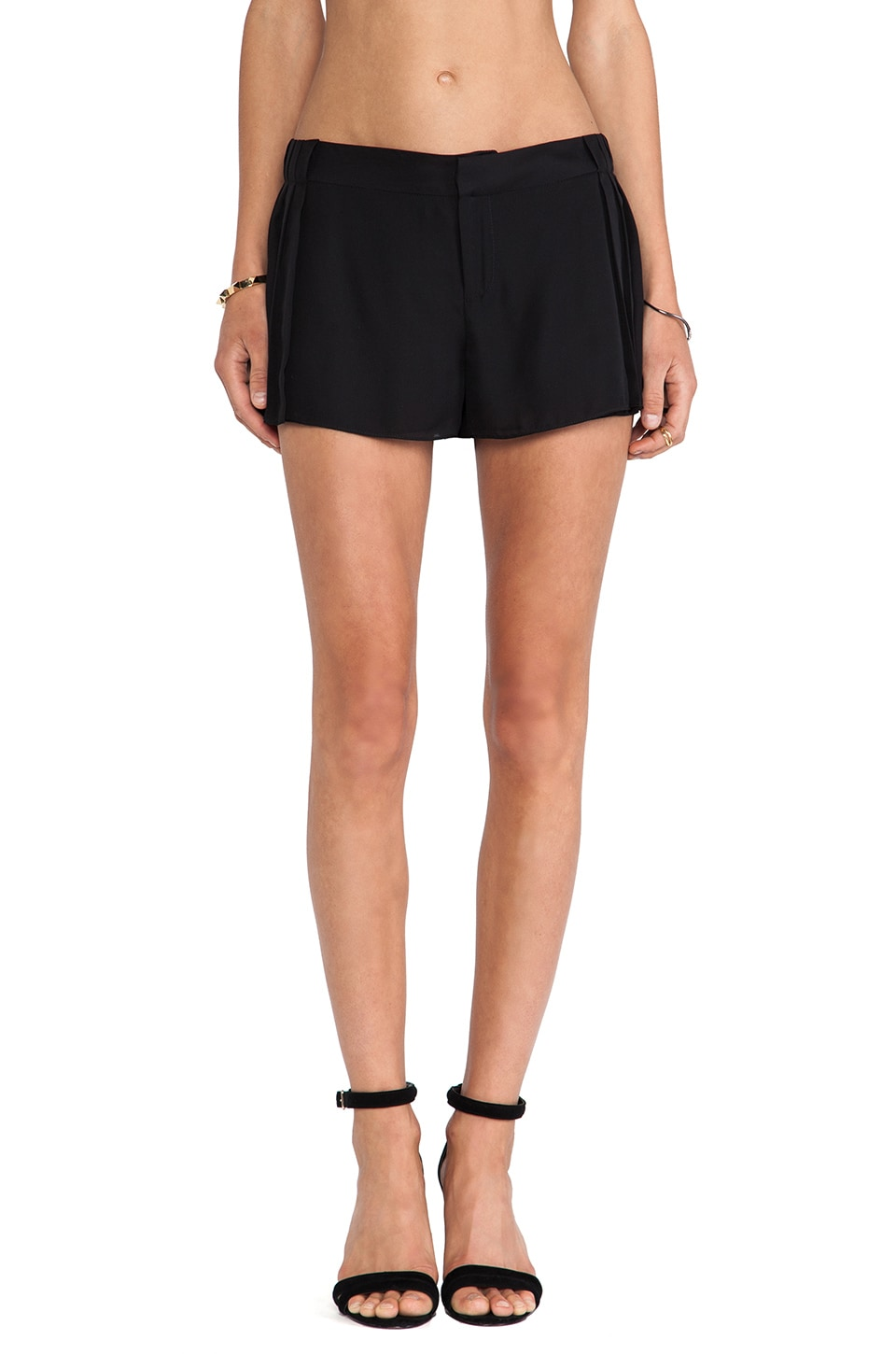 Haute Hippie Pleated Short in Black