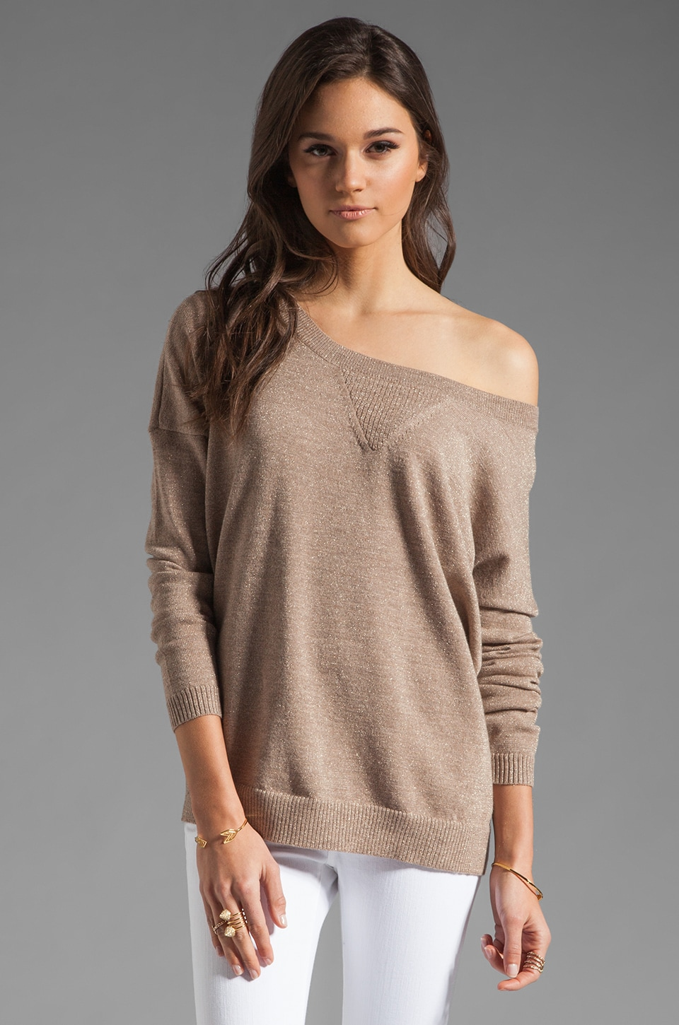 Haute Hippie Lurex Off the Shoulder Sweatshirt in Fawn