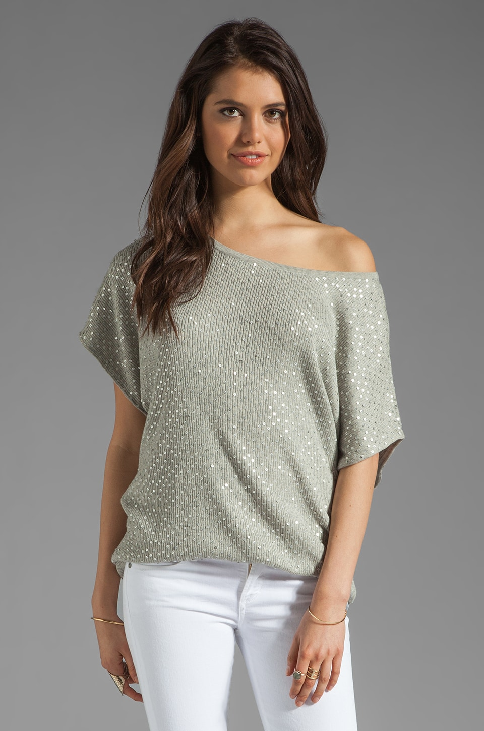 Haute Hippie Dolman Sweatshirt in Light Heather Grey/Matte Silver