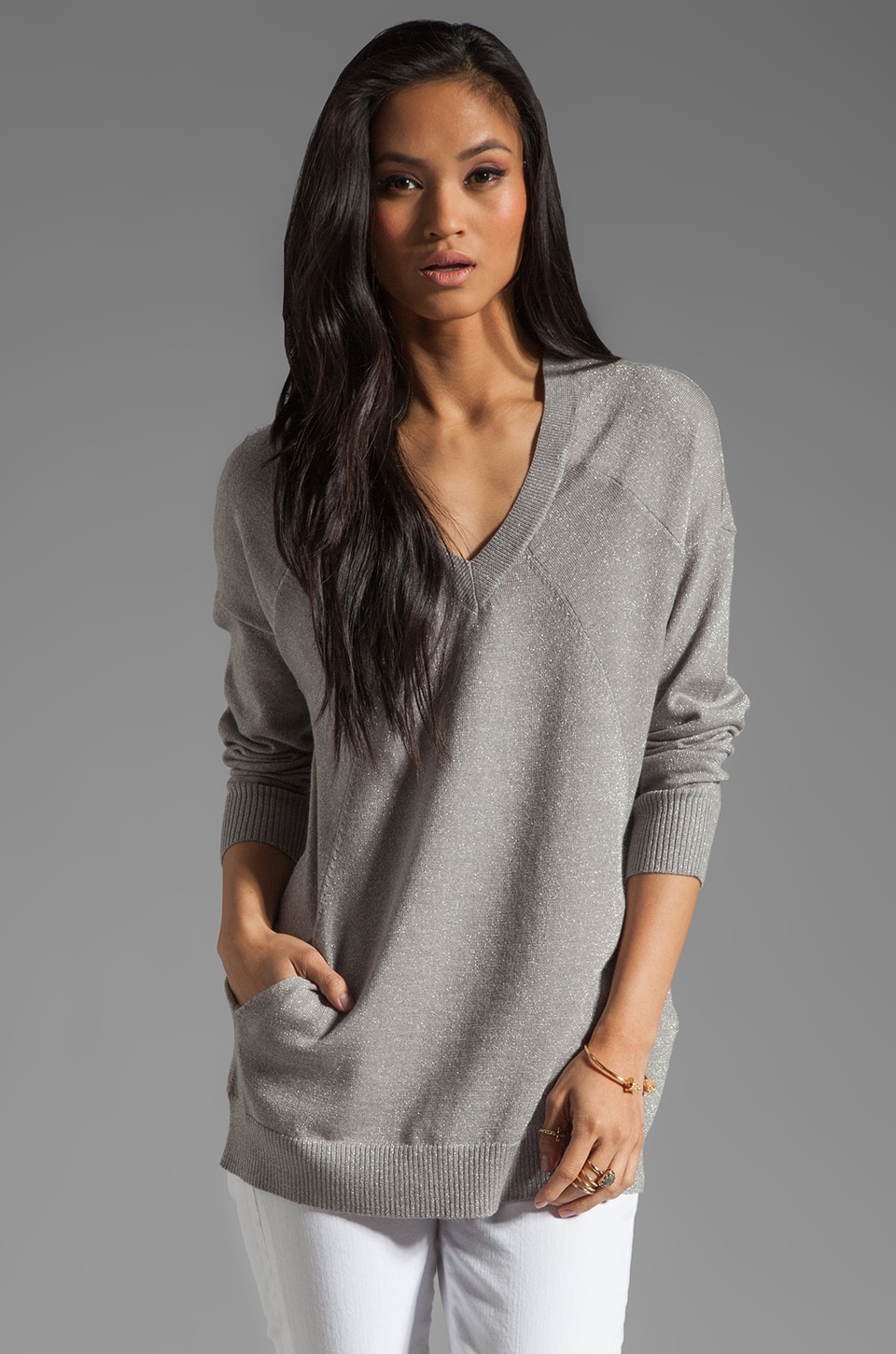Haute Hippie Sweatshirt with Pockets in Light Heather Grey/Silver