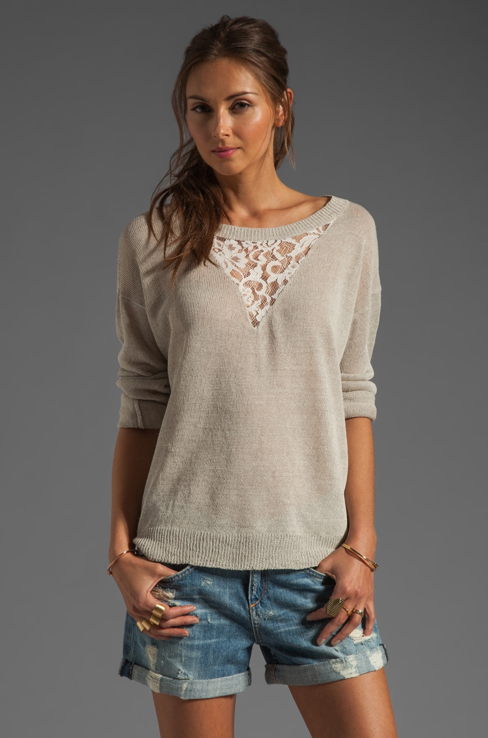 Haute Hippie Pullover Sweatshirt with Lace Inset in Oatmeal Heather
