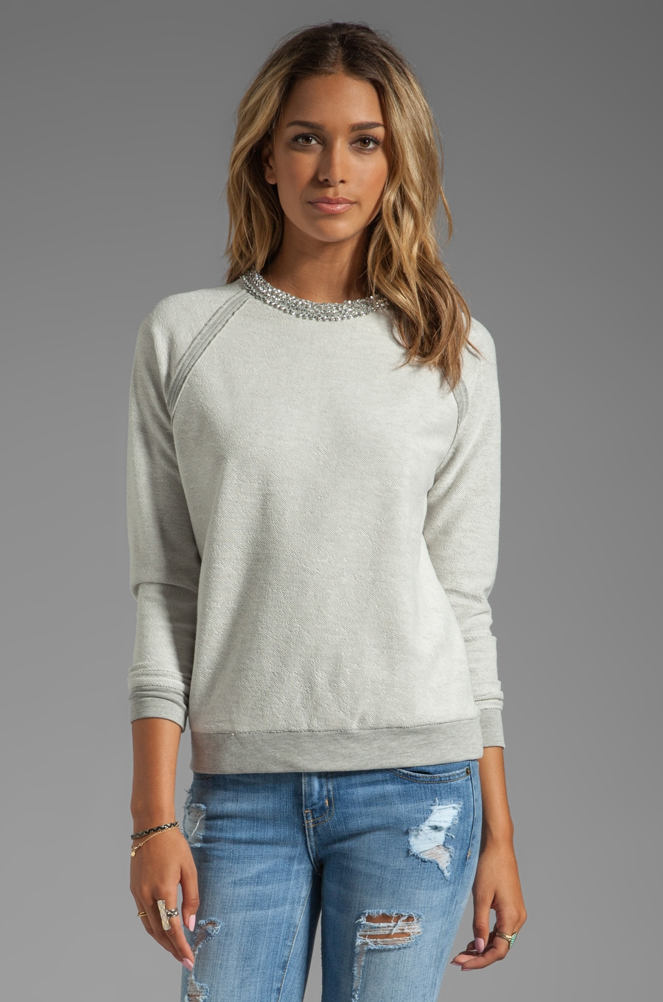 Haute Hippie Sweatshirt with Crystal Herringbone Neckline in Light Heather Grey