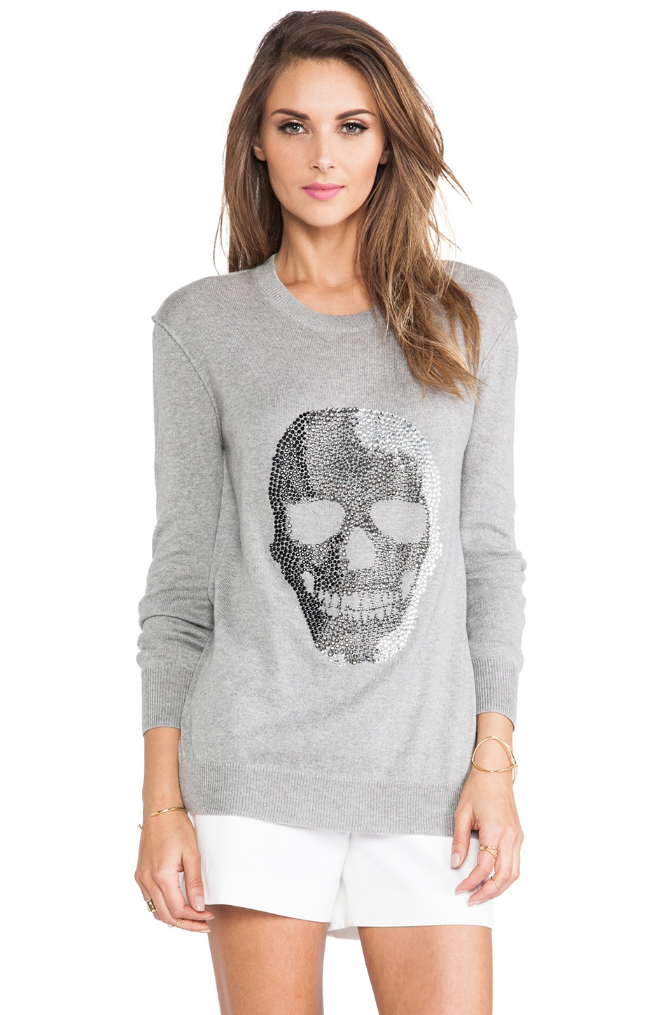 Haute Hippie Skull Pullover Sweater in Light Heather Grey