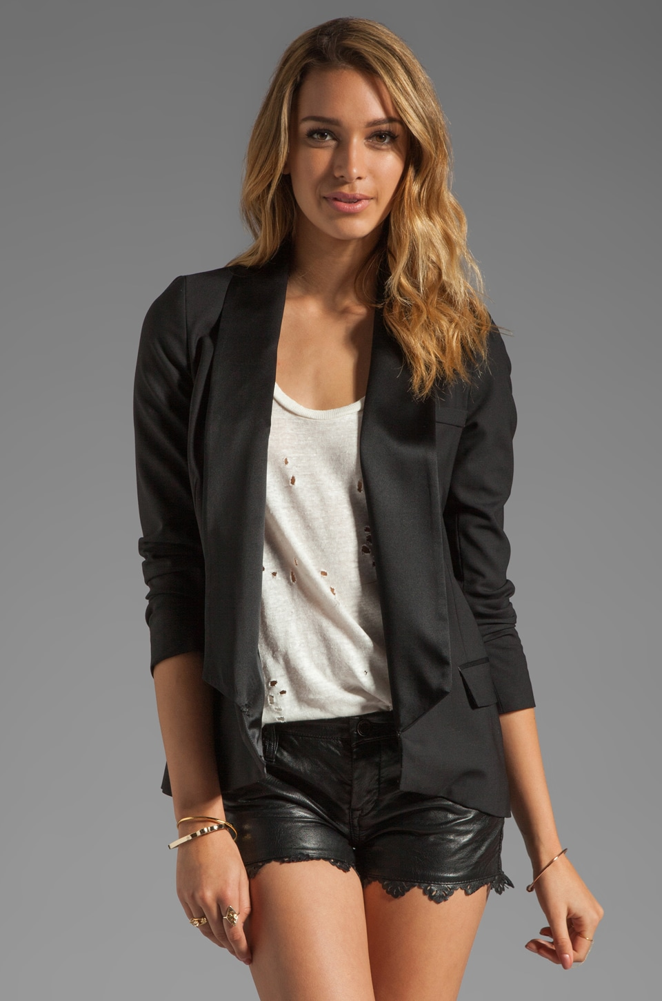Haute Hippie Jacket with Washed Lapel in Black