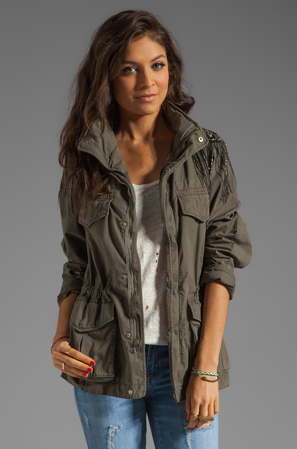 Haute Hippie Haute Hippie Military Anorak Jacket in Military
