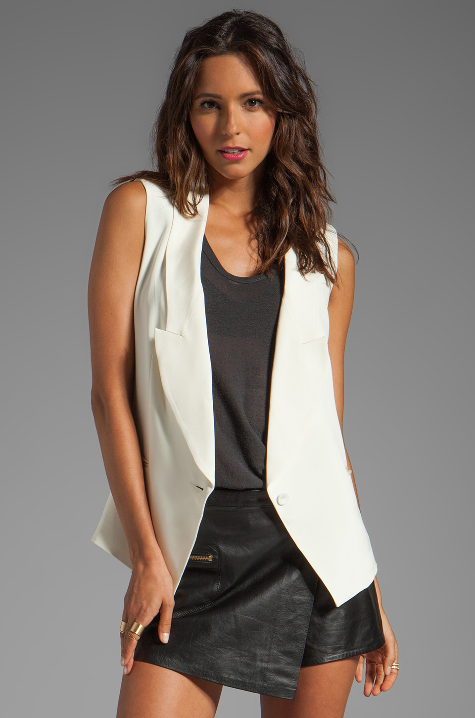 Haute Hippie Long Blazer Vest in Swan