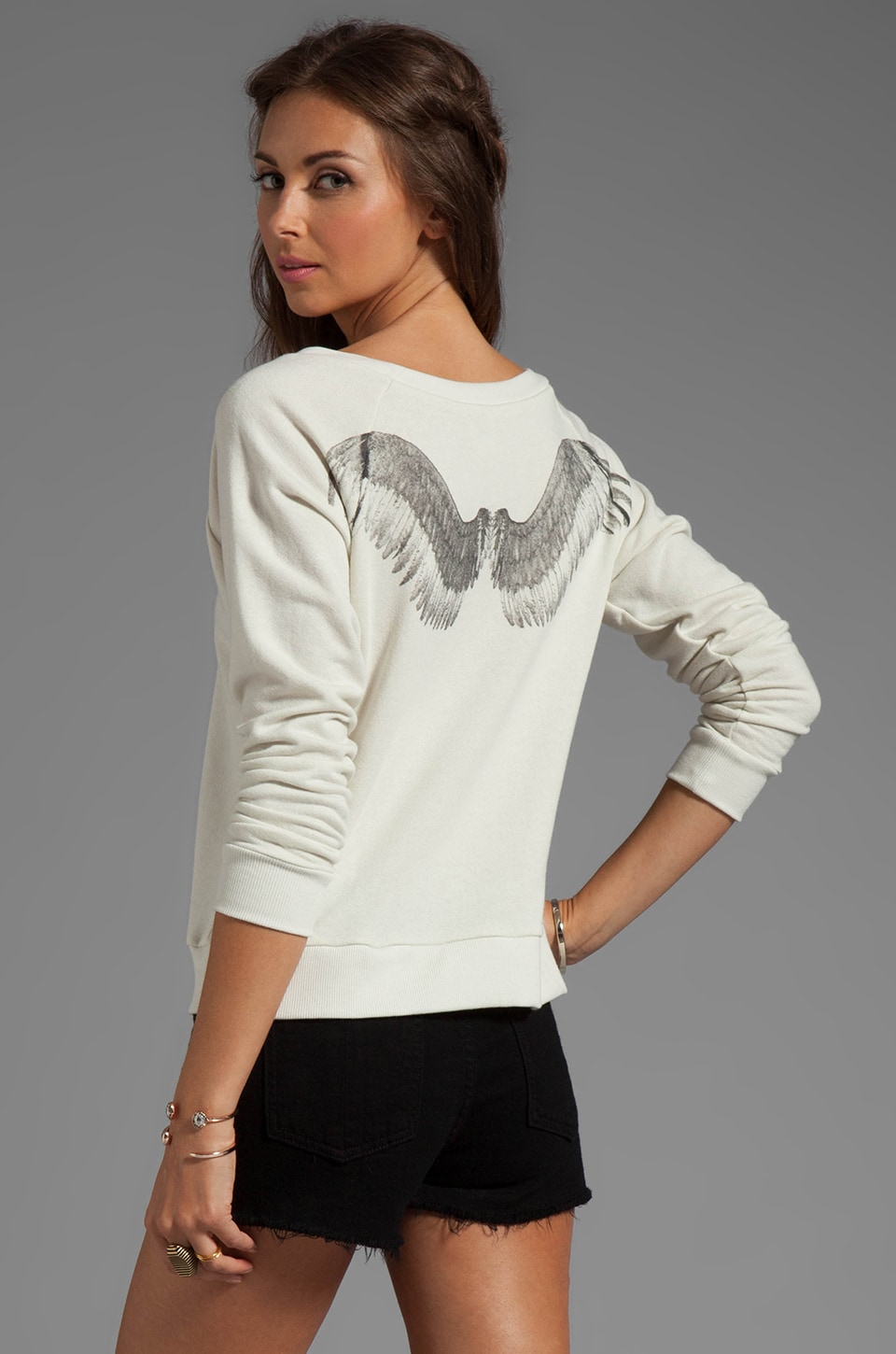 Haute Hippie Angel Wings Sweatshirt in Antique Ivory