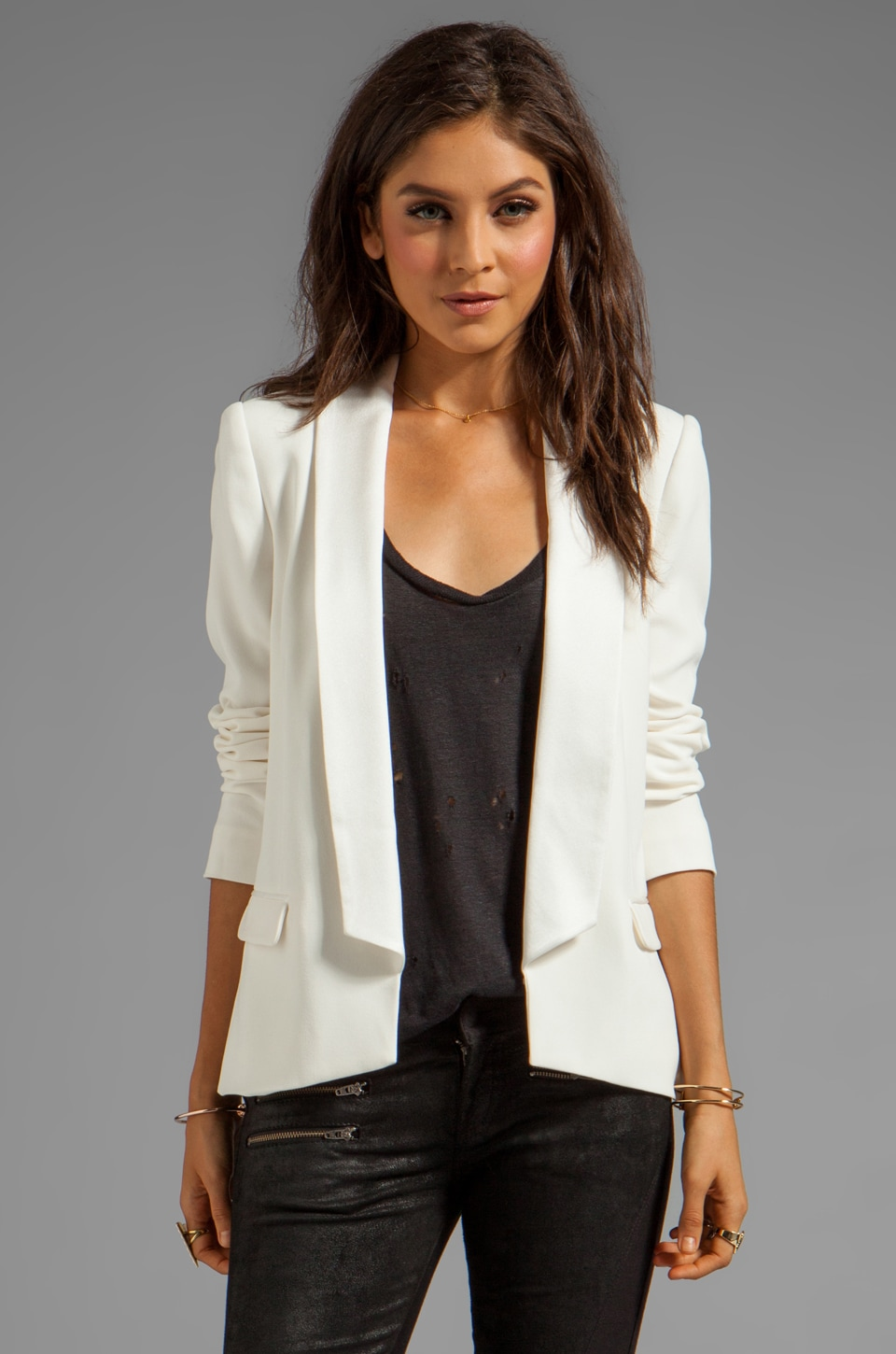 Haute Hippie Blazer with Long Lapel in Antique Ivory