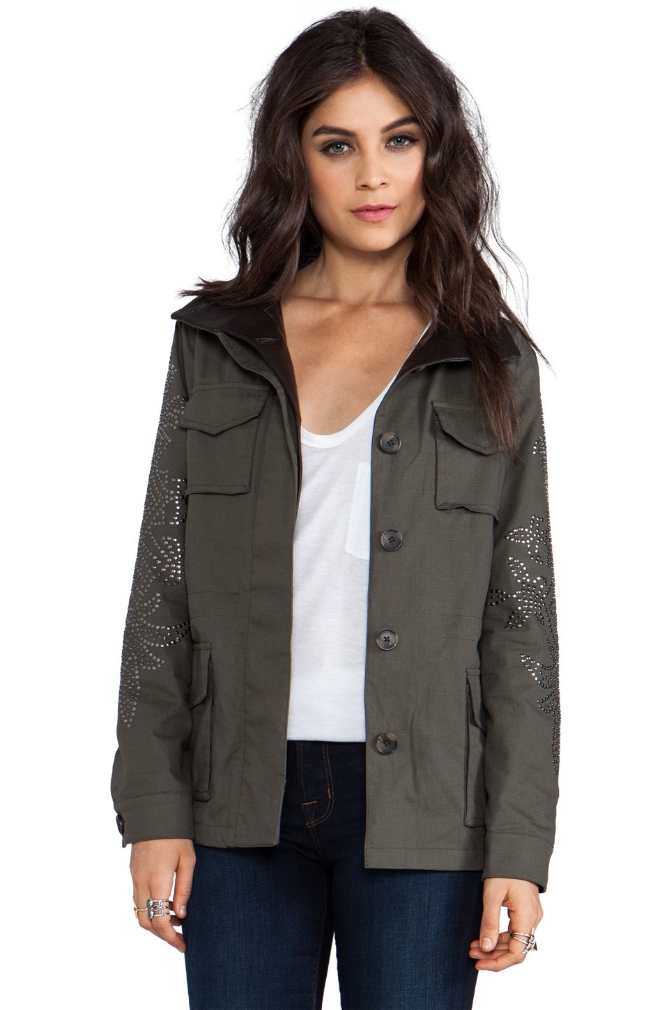 Haute Hippie Washed Ribstop Jacket with Studs in Military