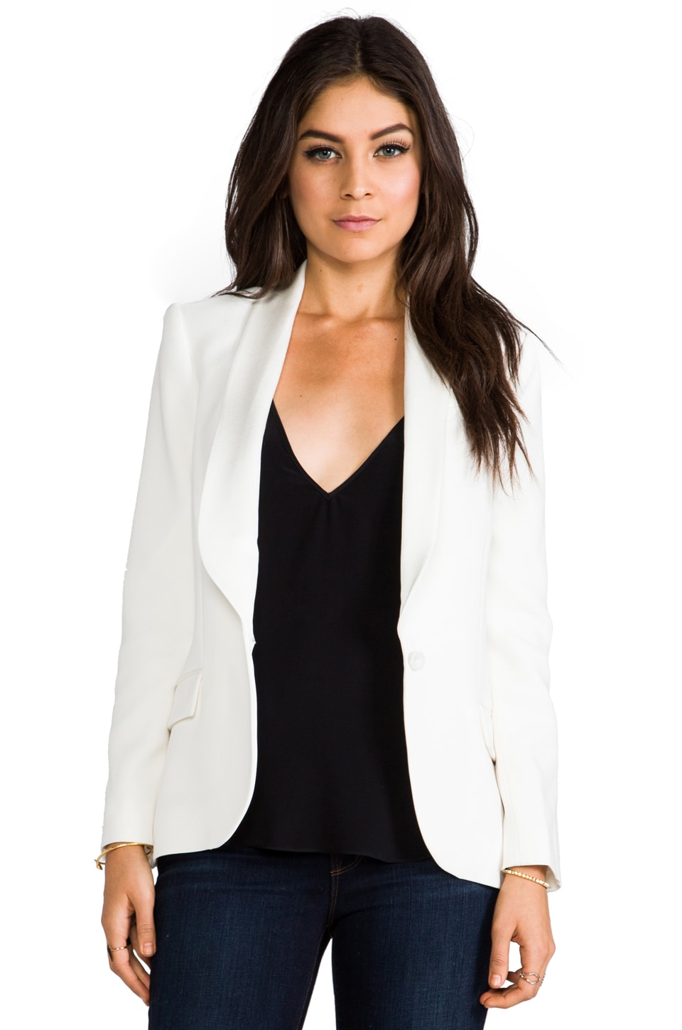 Haute Hippie Shawl Collar Blazer in Antique White