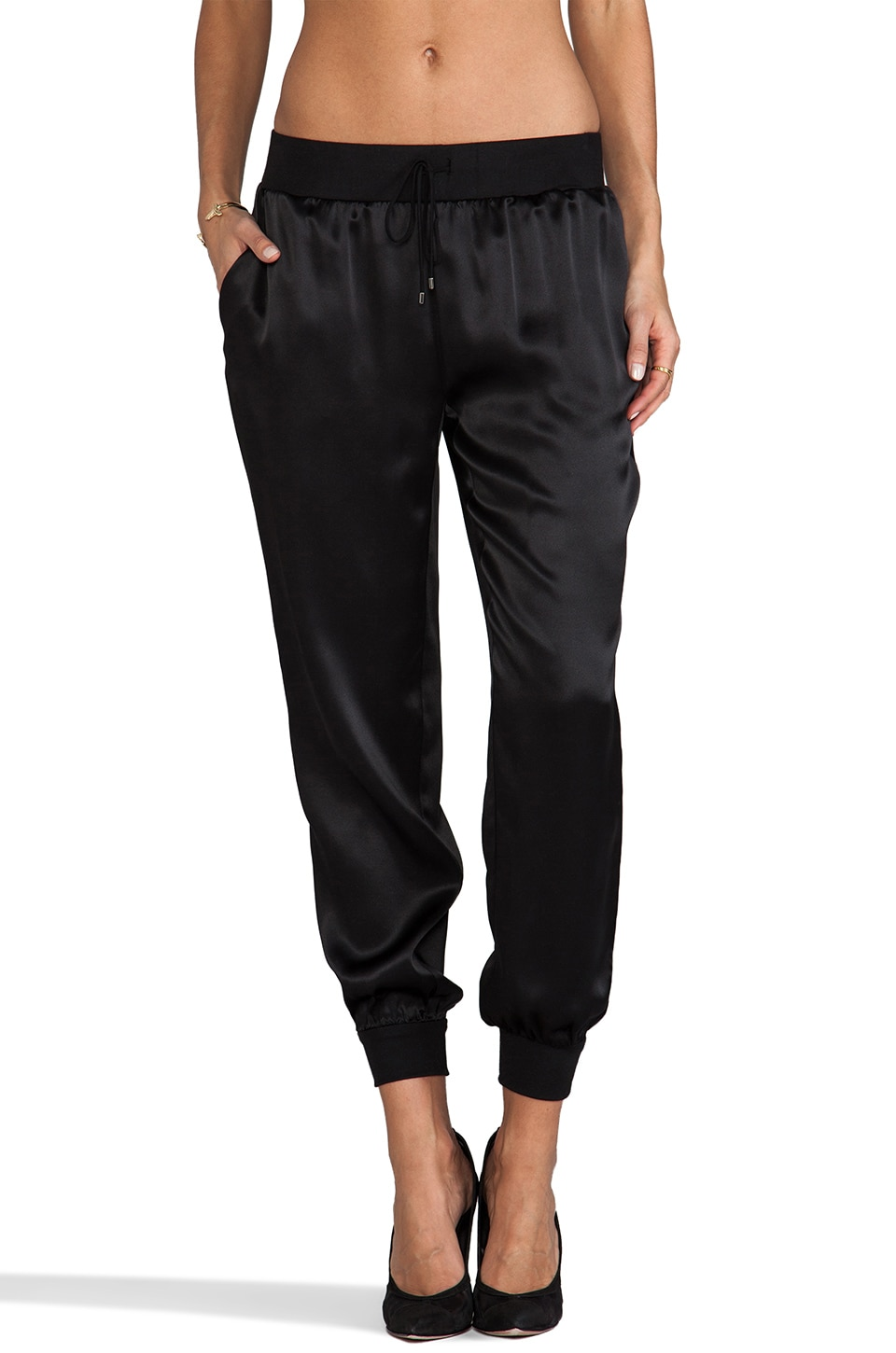 Haute Hippie Charmeuse Sweatpant in Black