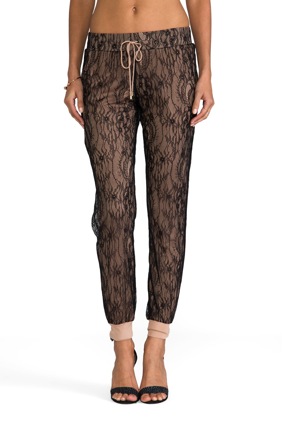 Haute Hippie Chiffon & Lace Sweatpant in Black/Suntan