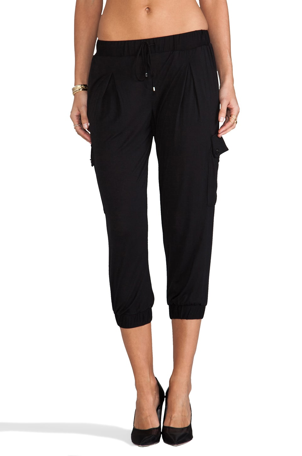 Haute Hippie Cropped Skinny Pant in Black