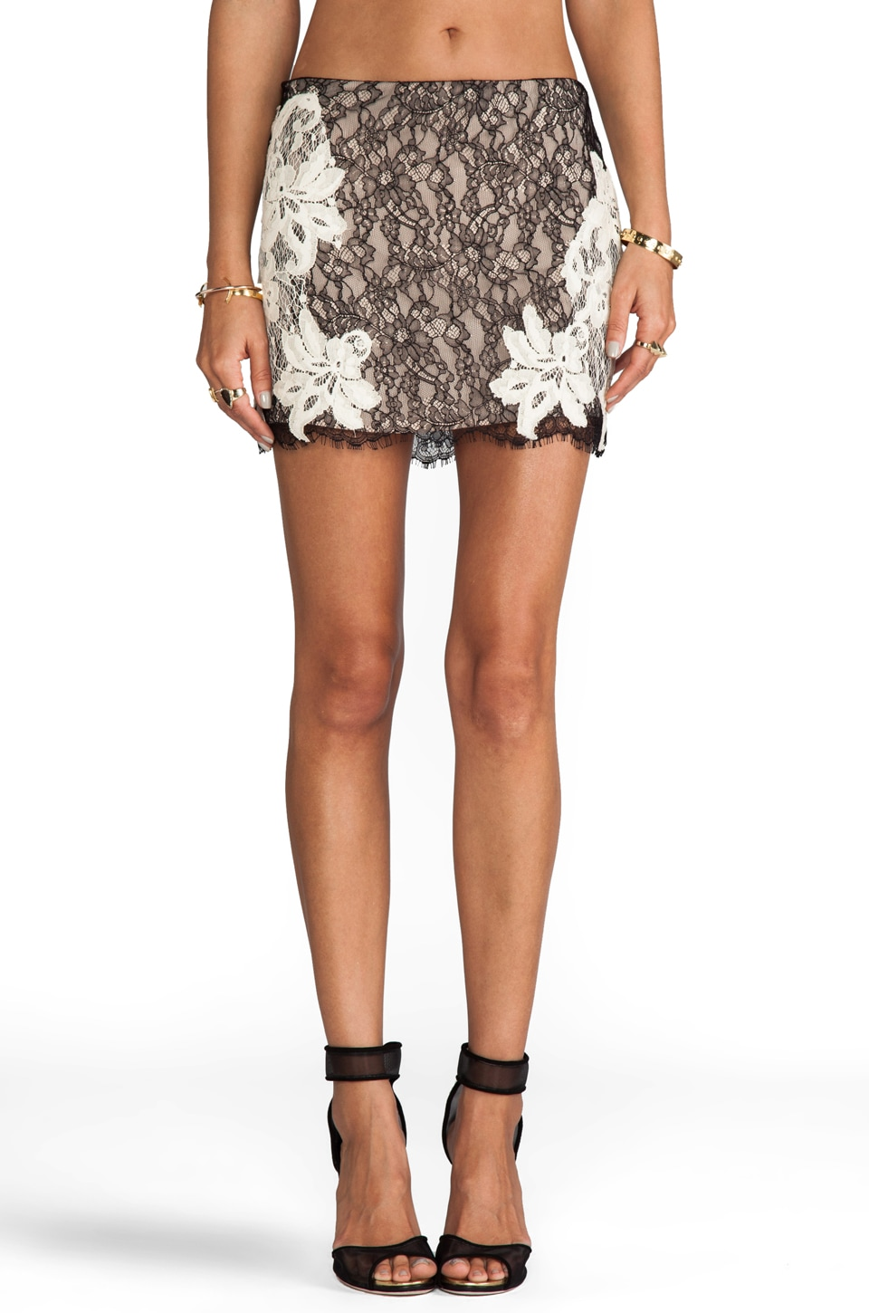 Haute Hippie Lace Mini Skirt in Black/Swan