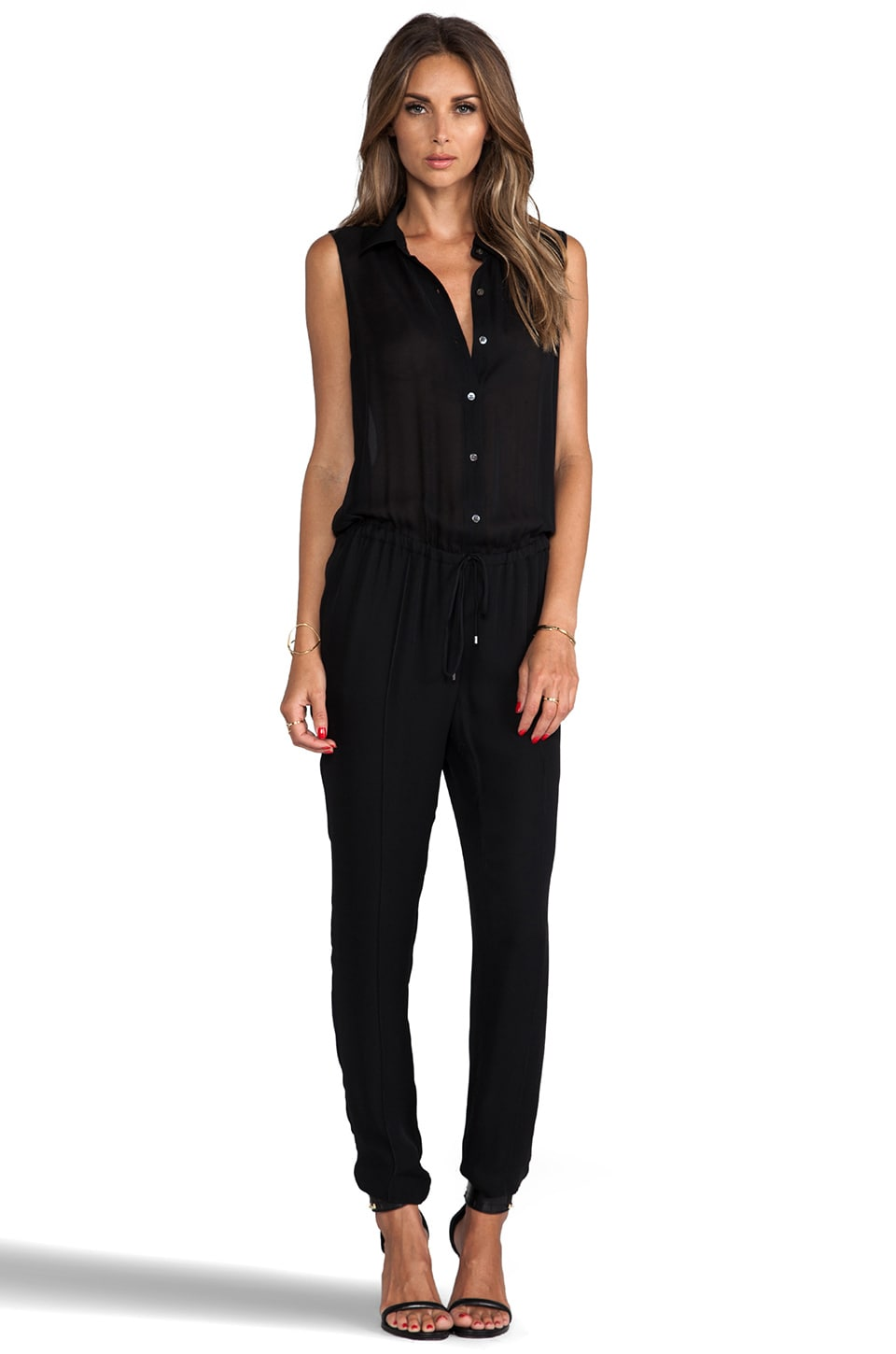 Haute Hippie Button Down Muscle Onesie in Black