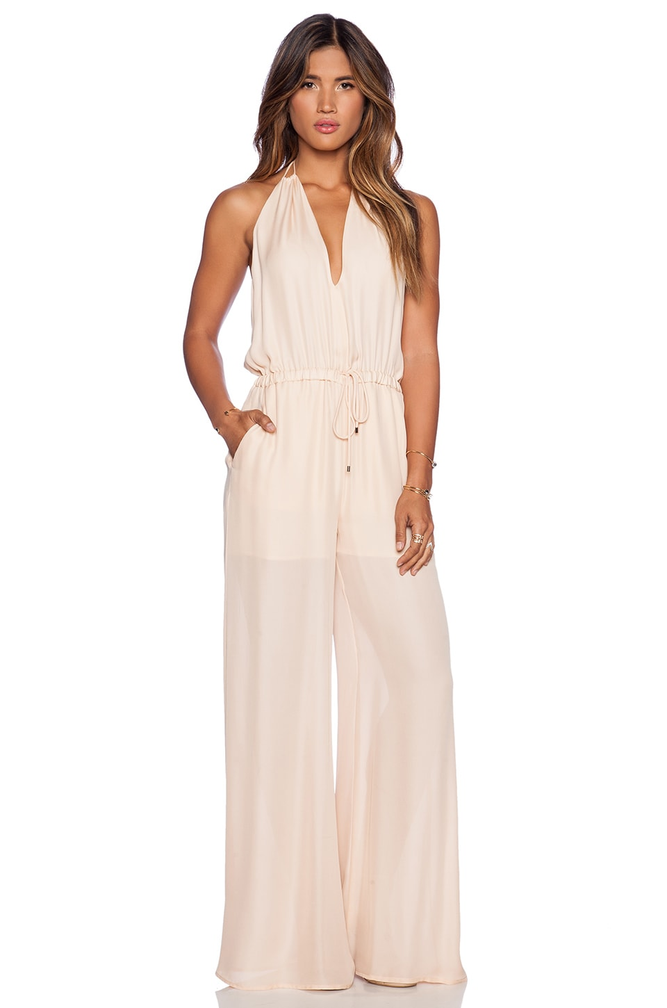 Haute Hippie Deep V Halter Onesie in Peach