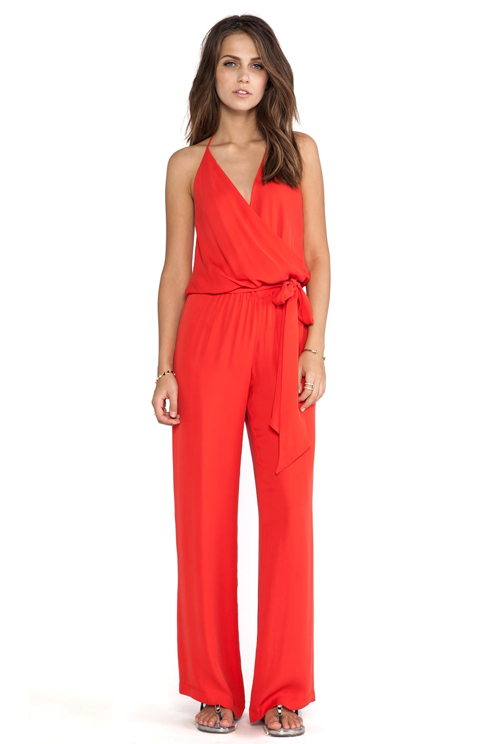 Haute Hippie Strappy Cami Onesie with Self Belt in Paprika