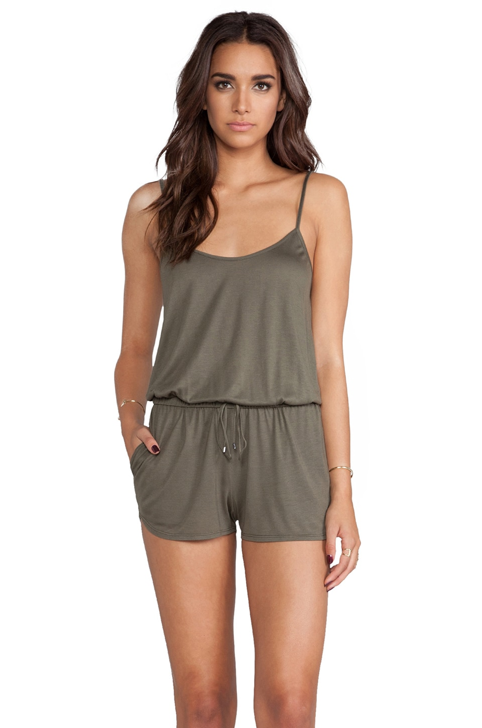 Haute Hippie Short Drawstring Onesie in Military