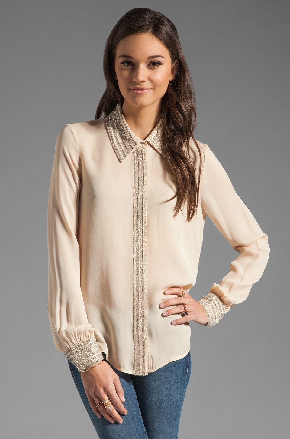Haute Hippie Embellished Collar Blouse in Buff